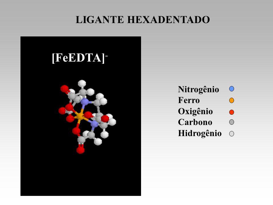 [FeEDTA]- LIGANTE HEXADENTADO EDTA Nitrogênio Ferro Oxigênio Carbono
